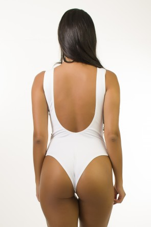 Body Estampa Digital Cavado nas Costas (Conchas / Branco) | Ref: BD098-041-002