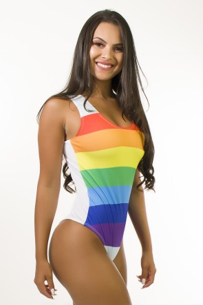 Body Estampa Digital Cavado nas Costas (Rainbow Stripes) | Ref: BD118-041-002