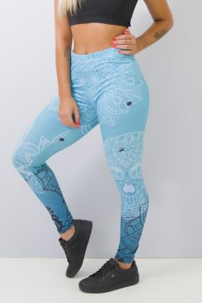 Calça Feminina Legging Estampa Digital Blue Skull | Ref: CAL365-041