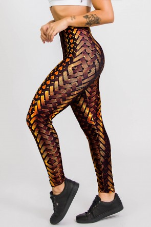 Calça Legging Sublimada New Braided Gold   Ref: CA441-041-000