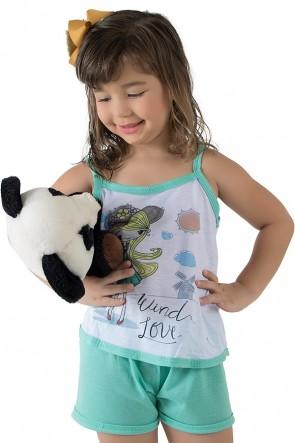 Babydoll de Malha Infantil 035 (Verde Piscina)   Ref.: CEZ-PA035-005