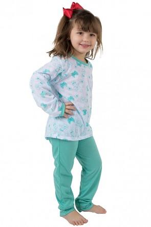 Pijama longo infantil 077 (Verde Piscina) | REF: CEZ-PA077-003