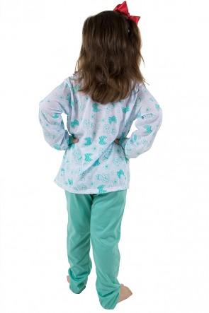 Pijama longo infantil 077 (Verde Piscina)   REF: CEZ-PA077-003