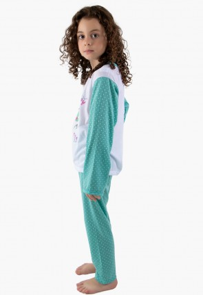 Pijama longo de Malha Infantil 108 (Verde) | Ref: CEZ-PA108-007