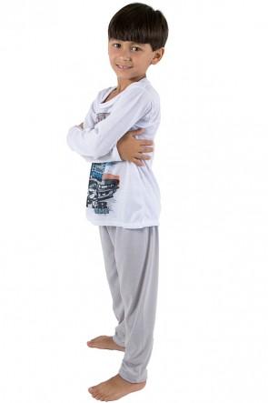 Pijama Infantil Longo 140 (Cinza) | Ref: CEZ-PA140-003