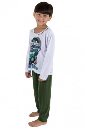 Pijama Infantil Longo 140 (Verde Escuro) | Ref: CEZ-PA140-004