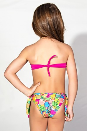 Biquini Infantil Tomara Que Caia com Bojo | Calcinha de Amarrar (Rosa Pink / Frutas Verde Amarelo e Salmão) | Ref: DVBQ34-002