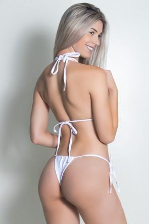 Biquini Cortininha Liso com Alça Dupla (Branco) | Ref: DVBQ48-001