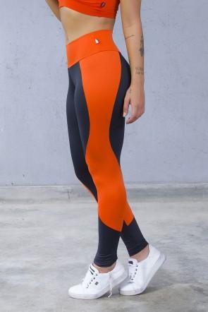 Legging Lisa com Detalhe em Ondas (Preto / Laranja) | Ref: F1185-001
