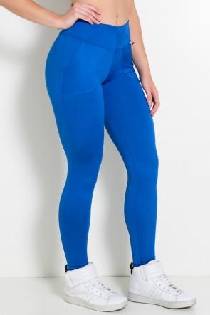 Calça Legging Lisa com Bolso (Azul Royal) | Ref: F146-005