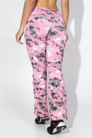 Calça Flare (Boca de Sino) Estampada (Manchado Preto com Rosa) | Ref: F166-005