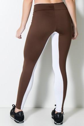 Calça Duas Cores com Detalhe no Cós (Marrom / Branco) | Ref: F1671-001