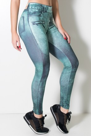 Legging Jeans Verde Estampa Digital | Ref: F1715-001