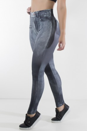 Legging Jeans Preta Estampa Digital | Ref: F1715-003