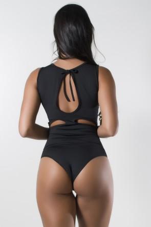 Body Liso de Amarrar com Detalhe Aberto (Preto) | Ref: F1775-001