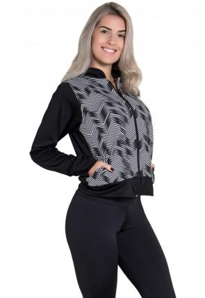 Jaqueta Lisa com Frente Estampada (Preto / Setas Brancas com Preto) | Ref:F1818-003