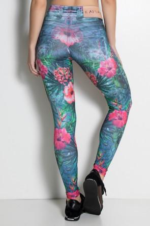 Legging Jeans Folhas e Flores Sublimada | Ref: F1852-001