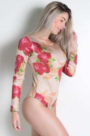 Body Manga Longa Rosas Vermelhas Sublimada | Ref: F1890-001