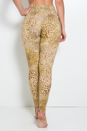 Calça Legging Estampada com Pezinho (Oncinha Marrom Bege e Amarelo) | Ref:F192-001