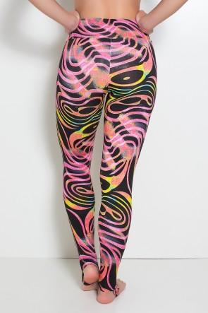 Calça Legging Estampada com Pezinho (Onda Rosa e Preta com Fluor) | Ref:F192-008