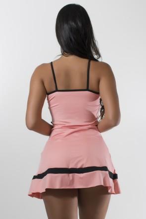 Vestido Liso de Alcinha com Faixas e Tiras   Short (Coral Tandy / Preto) | Ref:F2028-001