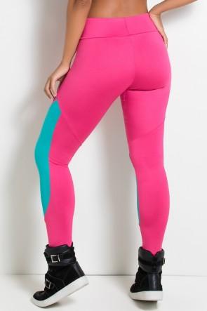 Calça 2 Cores com Recorte (Rosa Pink  / Verde Esmeralda)   Ref:F2188-001