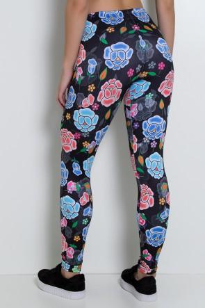 Calça Preta com Flores Coloridas Sublimada   Ref:F2227-001