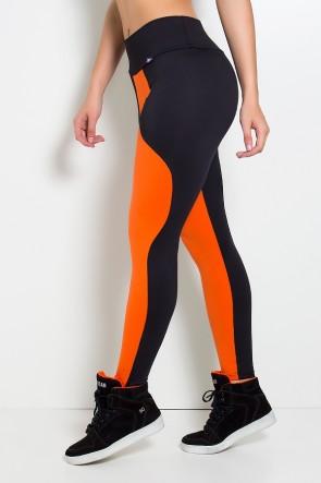 Calça Legging Duas Cores (Preto / Laranja) | Ref: F29-005