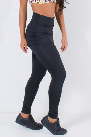 Calça Legging Lisa com Saia Franzida (Preto) | Ref: F315-003