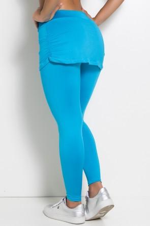 Calça Legging Lisa com Saia Franzida (Azul Celeste)   Ref: F315-005