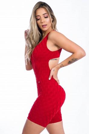 Macaquinho Angelica Tecido Bolha (Vermelho) | Ref: F386-003