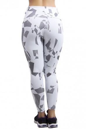 Calça Legging Cós Alto Tecido Jacquard (Branco com Figuras Pretas) | Ref: F561