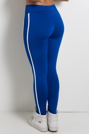 Calça Fuseau Cós Baixo com Duas Listras (Azul Royal)   Ref:F654-004
