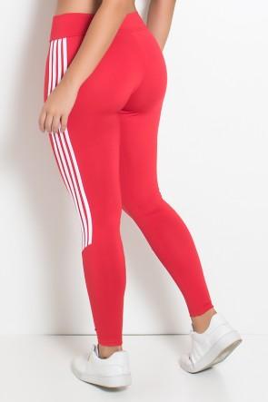 Legging com Cós em V e Listras (Vermelho / Branco) | Ref: F713-001