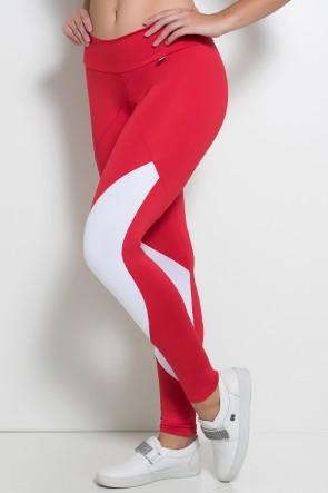 Calça Duas Cores com Cós Duplo (Vermelho / Branco) | Ref: F748-002
