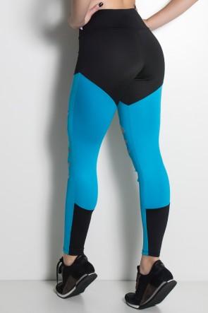 Calça Duas Cores Rasgada (Preto / Azul Celeste) | Ref: F773-003