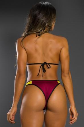 Biquini 3D com Bojo (Amarelo / Vinho) | Ref: KS-BQ65-003