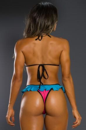 Biquini 3D com Babado (Azul Celeste / Rosa Pink) (Com Bojo) | Ref: KS-BQ70-002