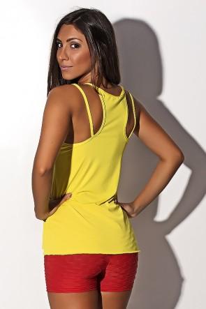 Camiseta de Microlight Nadador com Alça Dupla (Amarelo) | Ref: KS-F1022-004