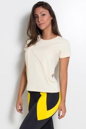 Camiseta de Malha com Ponto de Cobertura (Amarelo) | Ref: KS-F1034-005