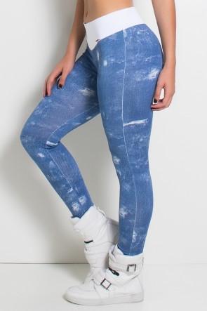 Legging Jeans com Cós Branco   Ref: KS-F1079-001