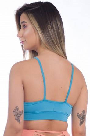 Top com Recorte e Detalhe no Busto (Azul Celeste)   Ref: KS-F1210-004