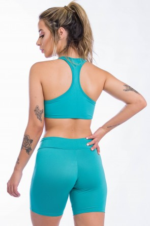 Conjunto Fitness Top + Short Listras (Verde Esmeralda com Branco) | Ref: KS-F1498-005