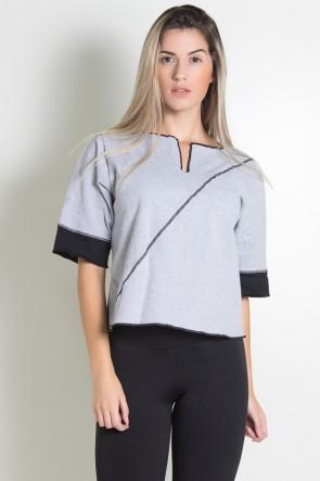 Blusa de Moletim Duas Cores com Ponto de Cobertura (Cinza / Preto) | Ref: KS-F1847-001