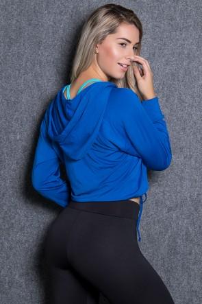 Blusa de Microlight com Capuz e Manga Comprida (Azul Royal) | Ref: KS-F1919-001