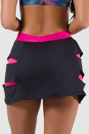 Short Saia Duas Cores com Rasgos Laterais e Cós de Elástico (Preto / Rosa Pink)   Ref: KS-F1995-001