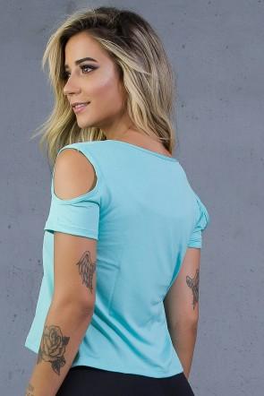Camiseta de Microlight com Silk e Abertura nos Ombros (IMP Branco + Azul Marinho / Verde Água) | Ref: KS-F2008-001