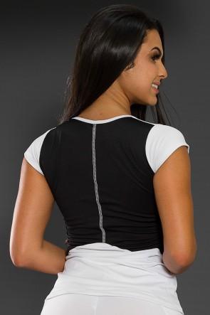 Blusa Duas Cores com Ponto de Cobertura (Branco / Preto) | Ref: KS-F2120-001