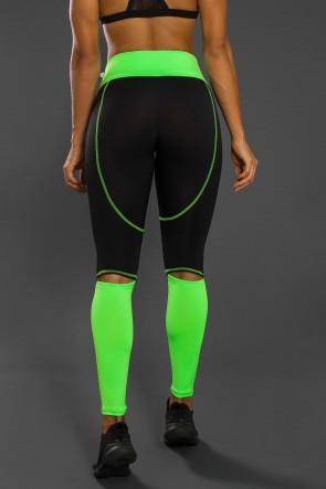 Calça Duas Cores com Abertura atrás dos Joelhos e Ponto de Cobertura (Preto / Verde Fluor) | Ref: KS-F2130-001