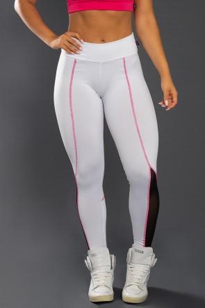 Calça Lisa com Tule e Ponto de Cobertura (Branco / Preto / Rosa Pink) | Ref: KS-F2136-001